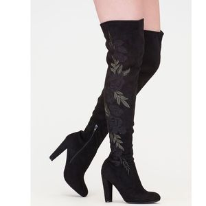 Wild Diva Over The Knee Embroidered Suede Boots